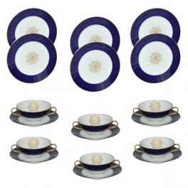 H&C Heinrich Ornament Speiseservice für 6 Personen (18-teilig) mit Suppentassen, echt Kobalt
