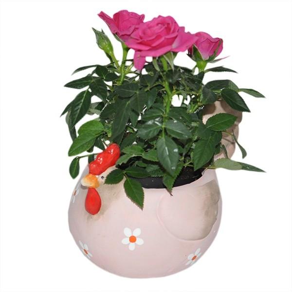Huhn blumentopf rosa keramik ostern fr hling dekoration for Blumentopf dekoration