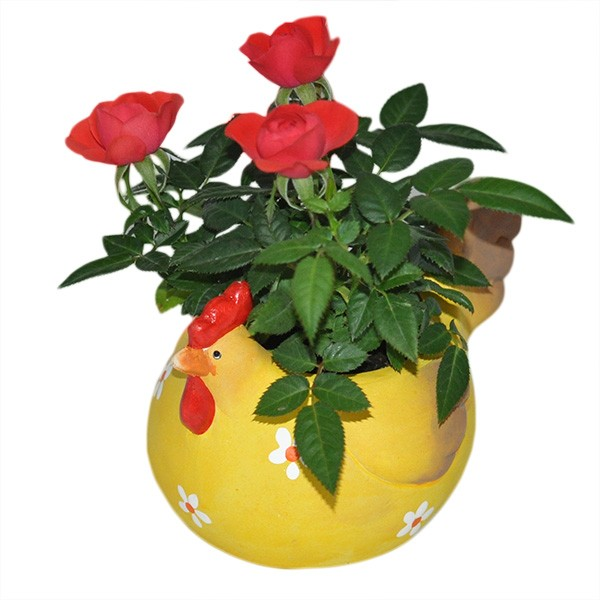 Huhn blumentopf gelb keramik ostern fr hling dekoration for Blumentopf keramik